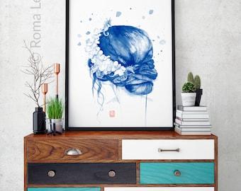 Meerjungfrau Malerei Aquarell Zeichnung Kunstdruck Moderne Farbe Navy Blau Wand Kunst Wohnzimmer Kinderzimmer Kunstillustration