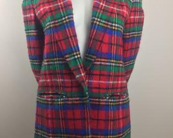 Vintage Pendleton 100% Virgin Red Plaid Blazer/Size 10