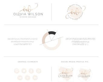 Rose Gold Premade Branding Package,Blush Beige Watercolor Branding Logo Bundle,Photography Logos and Watermarks,Elegant Script Logo