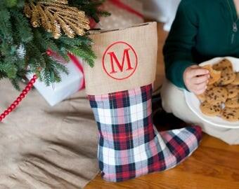 Monogrammed Winter Plaid Christmas Stocking