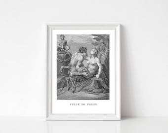 Greek Mythology Print, Erotic Wall Art, Erotic Print, Agostino Carracci, Priapus' Cult, Bedroom Wall Art, Printable Engraving Adaptation