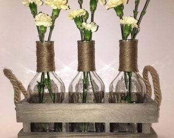 3 Wine Bottle Vase Set, Jute Wrapped Necks in a Rustic Wood Box. Decorative tabletop centerpiece, country farmhouse rustic decor.
