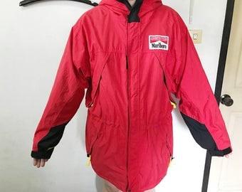 Vintage Marlboro Jacket Size XL Free Shipping Adventure Team Marlboro Jacket Red Jacket