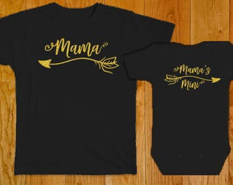 Mama / Mama's Mini - Matching Mother Daughter Shirts - Mama Mama's Mini Shirts - Matching Mama Baby Shirt - Mama's Mini Shirt - Matching Mom