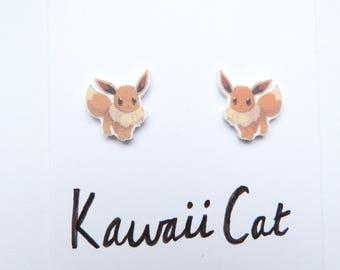 Sterling Silver Evee Earrings Pokemon Cute Kawaii Stud Earrings Silver Plated Anime Gifts Jewellery Accessories