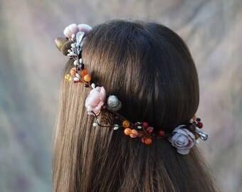 Flower crown, pinecone crown, autumn flower crown, acorn floral headpiece, bridal flower crown, fall headband