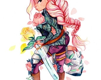 Floral Knight. Lady in Armor. Watercolor Print Illustration.