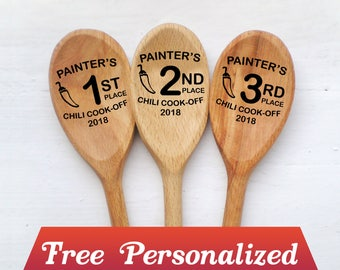 Chili Cook Off Spoons Set Wood Spoon Personalized Chili Cook-Off Cooking Awards Best Dessert Custom Engraved spoon favor Contest Event Prize