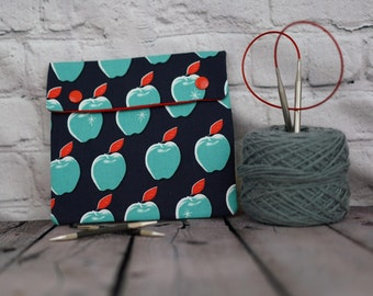 Blue Apples Circular Knitting Needle Case or Notions case for Knitting Notions, Crochet notions case, Accessories case, Sewing notions