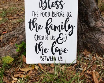 Bless the food before us the family beside us and the love between us farmhouse kitchen sign, farmhouse decor