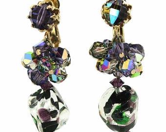 Vendôme 1950s Foil Glass Bead Vintage Earrings