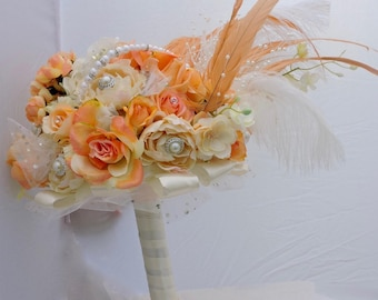 Bridal bouquet, peaches and cream wedding bouquet, 10 inch round wedding bouquet, latex and silk flower wedding bouquet, brides bouquet