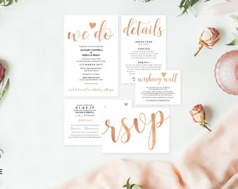 Editable wedding invitation template download, Printable wedding invitation, Rose gold wedding invitation, Rose gold wedding invites