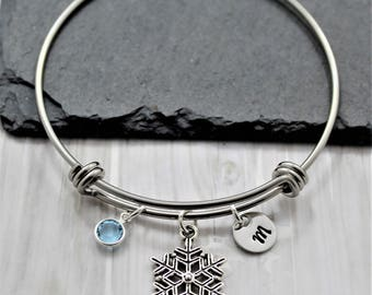Snowflake Bracelet - Personalized Swarovski Birthstone & Initial - Snow Themed Jewelry Gifts for Christmas Holiday Season - Winter Bracelet
