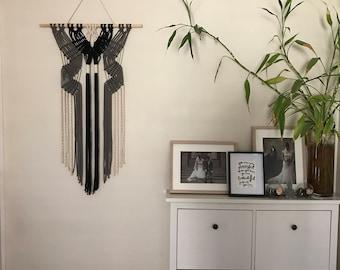 Modern Macrame Wall Hanging / Monochrome Wall Hanging / Grey, Black and White Wall Hanging / Fibre Art