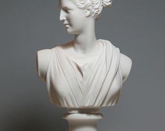 "Greek Roman Goddess Artemis Diana Bust Head Alabaster Statue Sculpture 8.46"" - 21.5cm **Free Shipping - Free Tracking Number**"