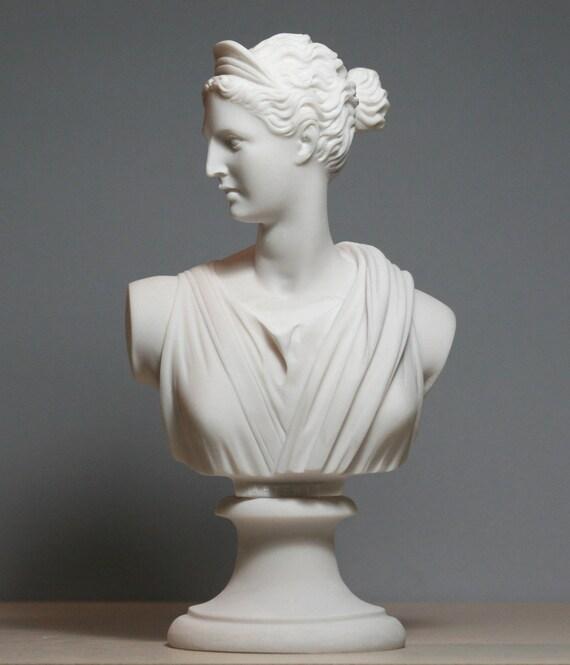 greek roman goddess artemis diana bust head alabaster statue. Black Bedroom Furniture Sets. Home Design Ideas