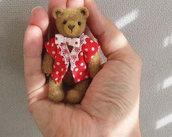 Charlie Bear - kawaii, small bear,artist bear, miniature bear, dollhouse bear, tiny bear, art bear, teddy bear, Blythe