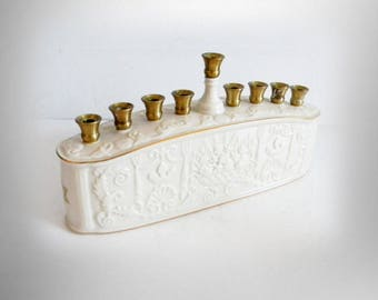 Lenox porcelain and brass menorah candle holder with gold accents