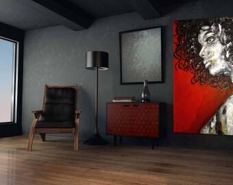 Special Price Portrait XXL black & white big size 39 x 59 inch art painting