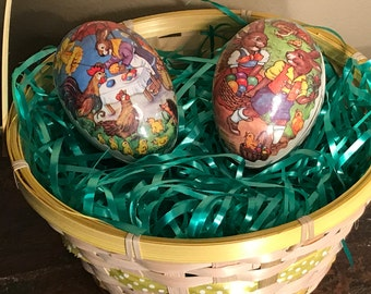 2 Vintage Paper Mache Easter Egg Candy Containers, Vintage Easter Decor,Retro Easter Basket stuffers,German Easter Decorations Shelf Display