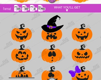 PUMPKIN SVG files - Clipart Cutting files compatible for Cricut, Silhouette and other cutting machines - svg dxf ai png format- 267