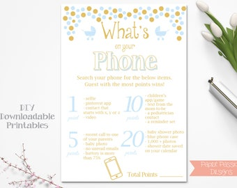 Baby Shower What's on Your Phone Game ~ Blue and Gold Baby Shower Game ~ Baby Boy Pram ~ Printable Game 0024BG