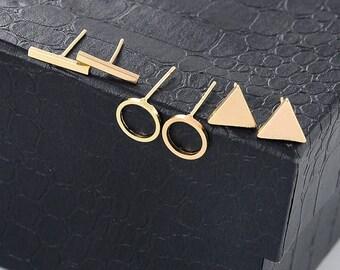 Little Geometric Ear Cuff Earrings Fashion Jewelry set of 3