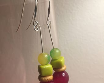 Glam Dangle Watermelon Jade and Fuchisa Agate Drop Earrings