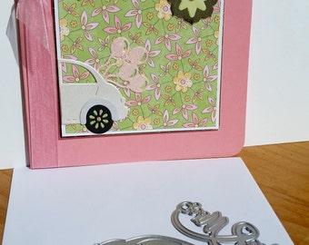 Q square pink wedding card, handmade, handcrafted, embellished.