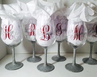 Bridesmaids Glittered Stem Personalized Wine Glass