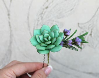 Mint Succulent hair pin Lavender rosemary Bridal flowers Mint Wedding hair accessories Gift for her Bridesmaid hair Wedding hairpiece