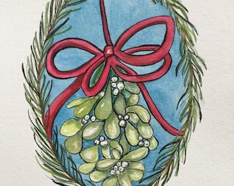 An Original Watercolor, Mistletoe in Pine Wreath