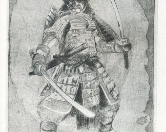 """Samurai"" original etching / / Samurai armor Samurai/Katana/feudal Japan/Japanese Bushido Samurai/侍/Japan / art/printmaking print/Samurai, Samurai"
