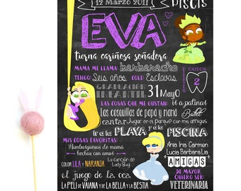 Slate special birthday Princess, princess personalized, printable Spanish chalkboard.