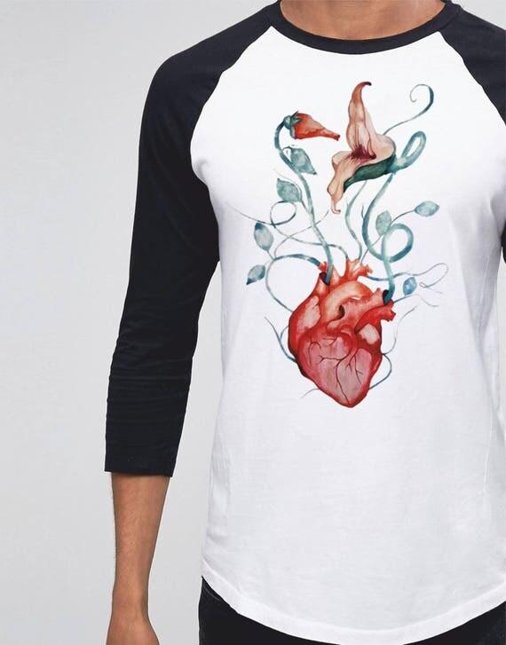 Pink Floyd Flowers | Unisex Raglan T-Shirt | 3/4 sleeves | Basketball shirt | Apparel for her / him | Watercolor | Rock music Tee | ZuskaArt