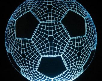 Optical Illusion 3-D Soccer Ball  Multicolored Nightlight Decorative Light