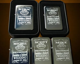 5 Engraved lighters - Custom engraved refillable lighter in box - Personalized Groomsmen gift - Laser engraved custom wedding gift set