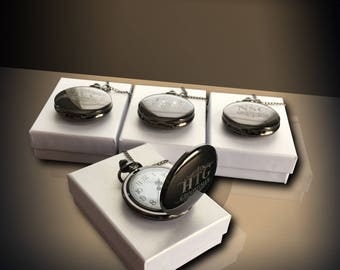 4 Personalized Pocket Watches - 4 Bride & Bridesmaid gifts - Groomsmen gift - Wedding gifts - Best Man - Matron of Honor personalized gift