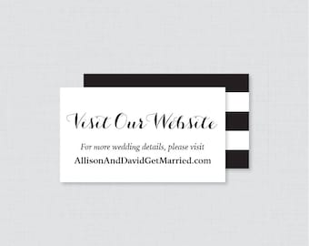 Printable OR Printed Wedding Website Cards - Black and White Wedding Website Invitation Inserts - Calligraphy Wedding Details Cards 0005