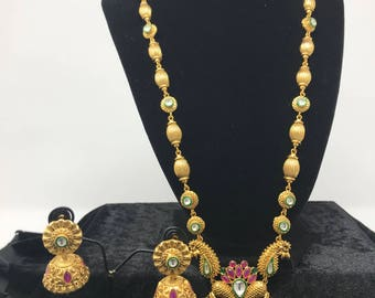 Indian Long Set - Indian Jewelry Set - Temple Jewelry Long Set - Temple Earrings - Jhumki Earrings - Bollywood Jewelry - Kundan Jewelry -