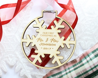 Our First Christmas As Mr and Mrs Ornament, Our First Christmas As Mr and Mrs, Personalized Couples Ornament, Our First Christmas Married