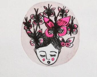 Original Etching Printmaking- Mademoiselle papillons 2/10 - Miss Butterflies 2 on 10