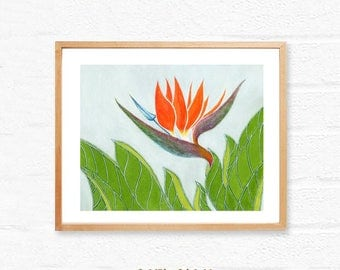Bird of Paradise,printable floral art,botanical download,printable wall art print,instant digital download,download still life painting