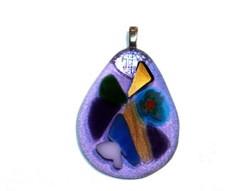 Fused Glass Pendant Necklace Glass Purple Teardrop Pendant Translucent Lavendar with Fused Colored Inclusions Handmade Art Glass Pendant