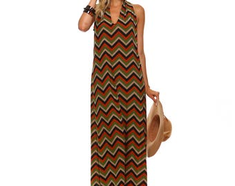 Chevron Racerback Maxi Dress, Missoni Inspired Dress, Orange Chevron Maxi, Size S M L XL Made in USA