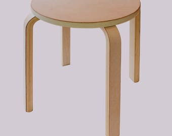 Leather Covered Bentwood Birch Custom Stool