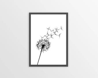 DANDELION Print, Dandelion Wall Art, Dandelion Wall Decor, Dandelion Poster, Black And White Print, Dandelion Bedroom, Dandelion Art
