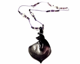 Silver Purple Black Twist drop pendant necklace, Murano Glass pendant,One of a kind, handmade necklace, statement necklace, gift for her