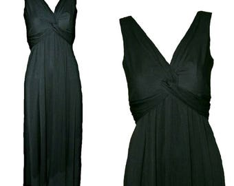 John Charles Grecian Goddess Black Maxi Evening Dress. Size 8. Vintage 1980s.
